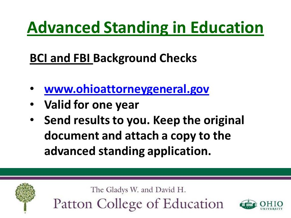 Advanced Standing in Education A reminder in advance Apply to professional internship 1 year prior by November 1 st $585 fee when registering for EDPL 4650 Covers professional internship and scoring of edTPA Added to your e-bill