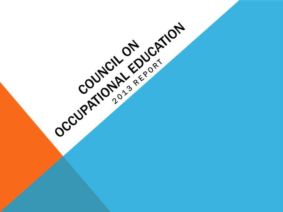 COUNCIL ON OCCUPATIONAL EDUCATION 2013 REPORT