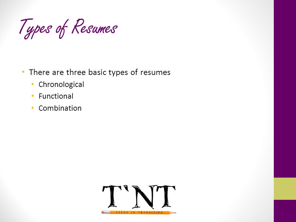 Types of Resumes There are three basic types of resumes Chronological Functional Combination