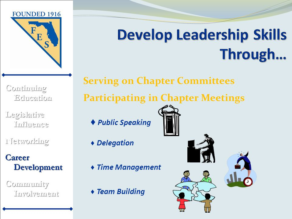 Serving on Chapter Committees Participating in Chapter Meetings ♦ Public Speaking ♦ Delegation ♦ Time Management ♦ Team Building