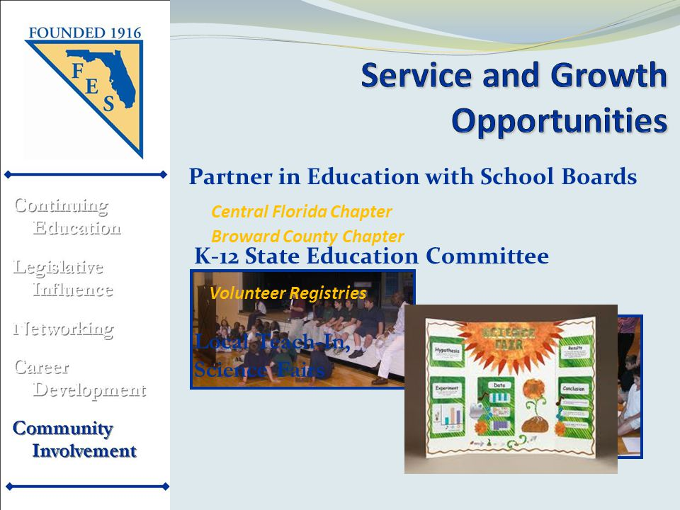 K-12 State Education Committee Volunteer Registries Local Teach-In, Science Fairs Partner in Education with School Boards Broward County Chapter Central Florida Chapter