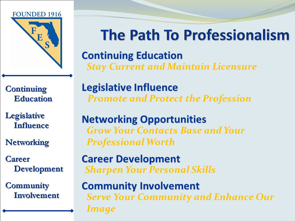Serve Your Community and Enhance Our Image Continuing Education Stay Current and Maintain Licensure Legislative Influence Promote and Protect the Profession Networking Opportunities Grow Your Contacts Base and Your Professional Worth Career Development Sharpen Your Personal Skills Community Involvement