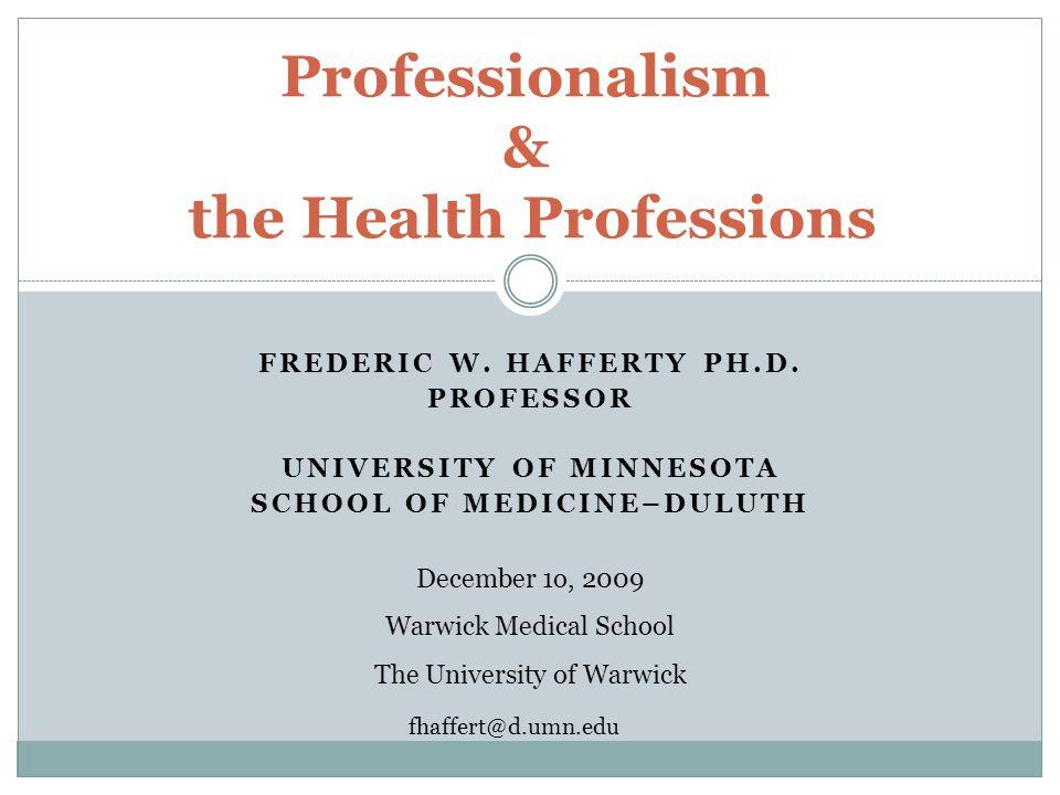 FREDERIC W. HAFFERTY PH.D.