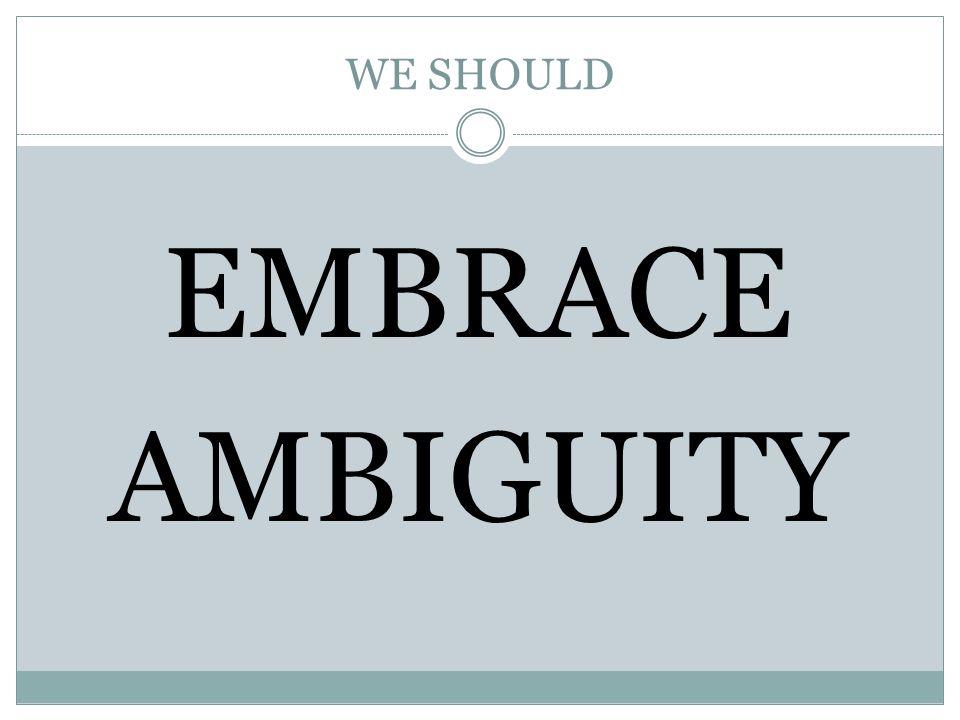 WE SHOULD EMBRACE AMBIGUITY