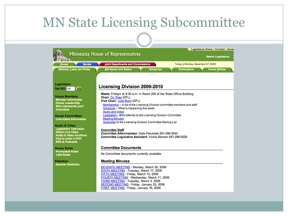 MN State Licensing Subcommittee