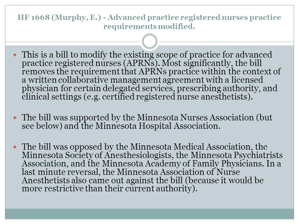 HF 1668 (Murphy, E.) - Advanced practice registered nurses practice requirements modified.