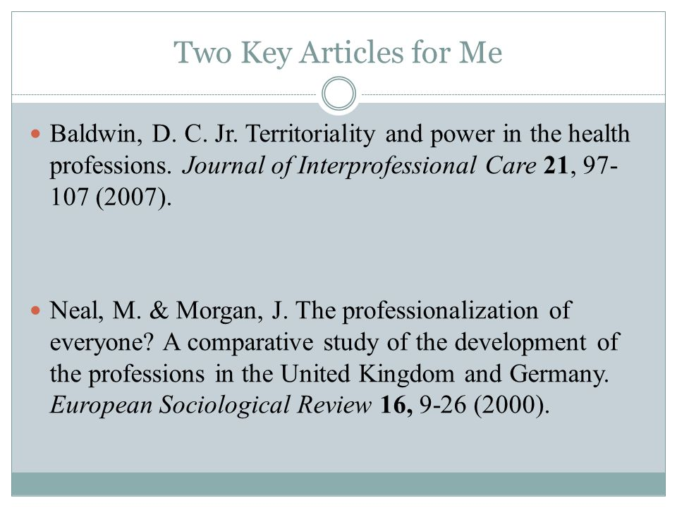 Two Key Articles for Me Baldwin, D. C. Jr. Territoriality and power in the health professions.