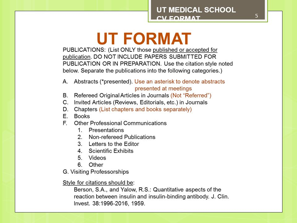 UT MEDICAL SCHOOL CV FORMAT FONTS AND WHITE SPACE 6 To improve readability of your CV, we suggest that you use an easy-to-read 11pt or 12pt font size, i.e., Arial, Calibri, etc.
