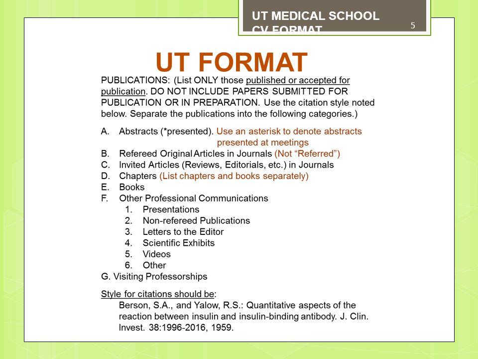 UT FORMAT UT MEDICAL SCHOOL CV FORMAT 5