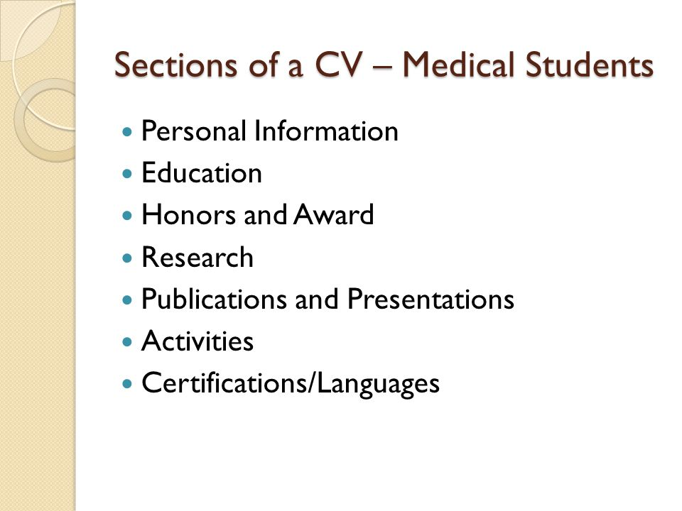 Sections of a CV – Medical Students Personal Information Education Honors and Award Research Publications and Presentations Activities Certifications/