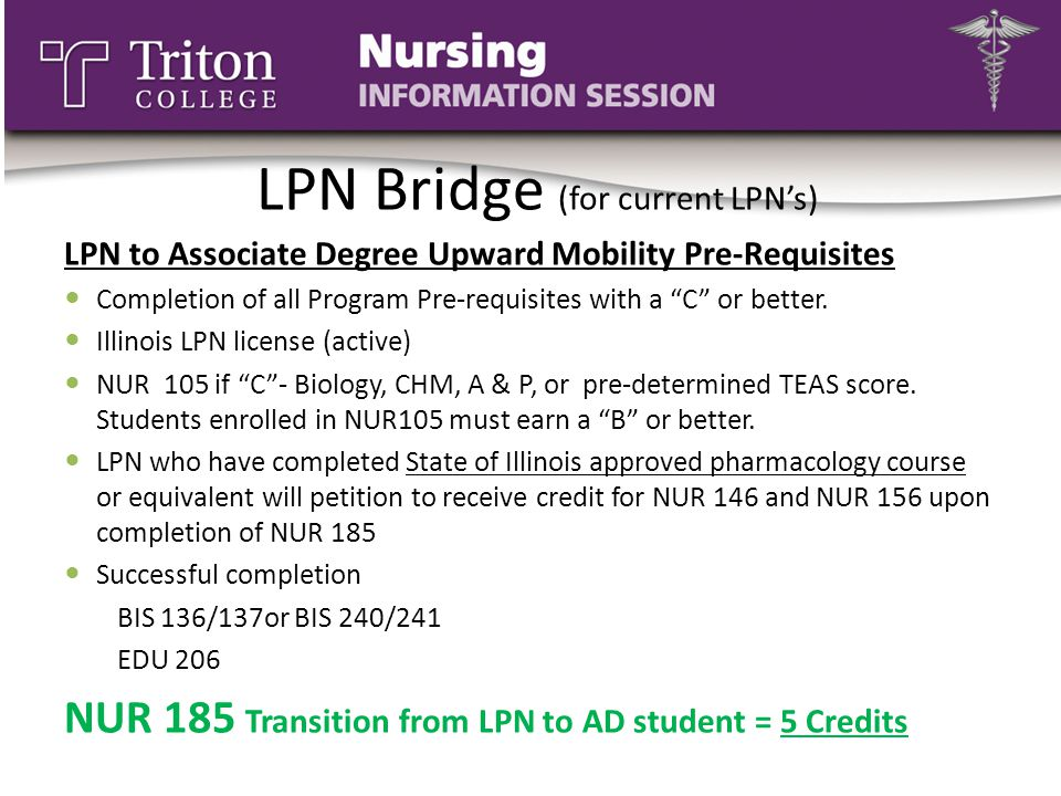 """LPN Bridge (for current LPN's) LPN to Associate Degree Upward Mobility Pre-Requisites Completion of all Program Pre-requisites with a """"C"""" or better. I"""