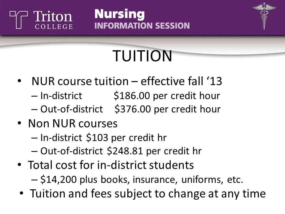 TUITION NUR course tuition – effective fall '13 – In-district $186.00 per credit hour – Out-of-district $376.00 per credit hour Non NUR courses – In-d