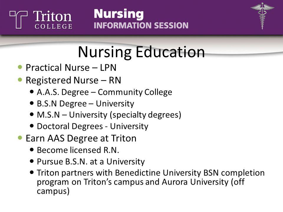 Nursing Education Practical Nurse – LPN Registered Nurse – RN A.A.S. Degree – Community College B.S.N Degree – University M.S.N – University (specialt