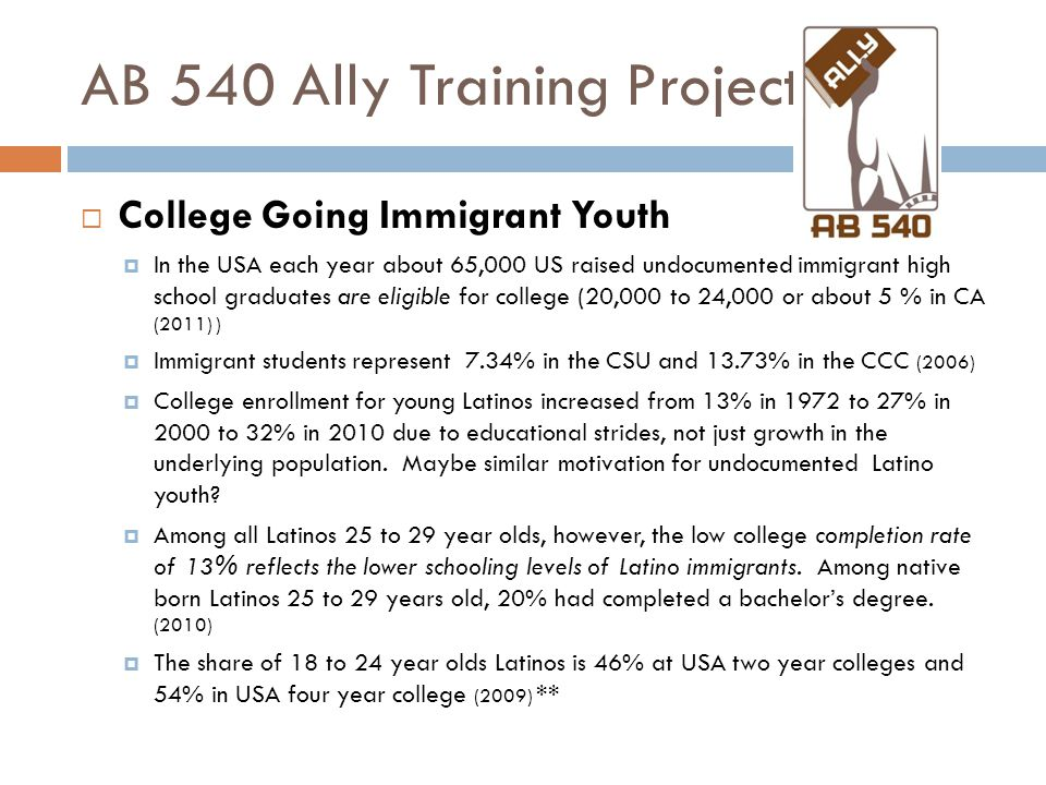 AB 540 Ally Training Project  College Going Immigrant Youth  In the USA each year about 65,000 US raised undocumented immigrant high school graduates are eligible for college (20,000 to 24,000 or about 5 % in CA (2011) )  Immigrant students represent 7.34% in the CSU and 13.73% in the CCC (2006)  College enrollment for young Latinos increased from 13% in 1972 to 27% in 2000 to 32% in 2010 due to educational strides, not just growth in the underlying population.