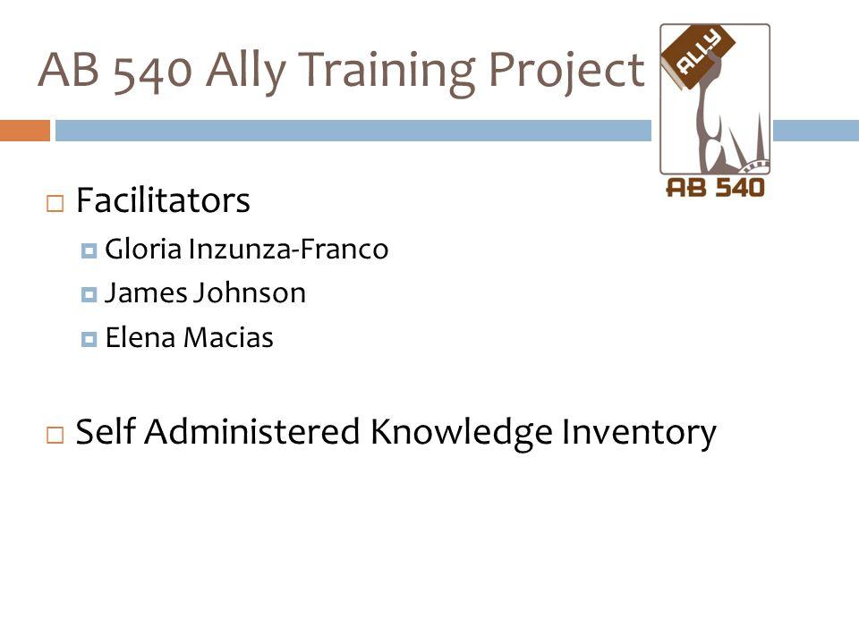 AB 540 Ally Training Project  Facilitators  Gloria Inzunza-Franco  James Johnson  Elena Macias  Self Administered Knowledge Inventory