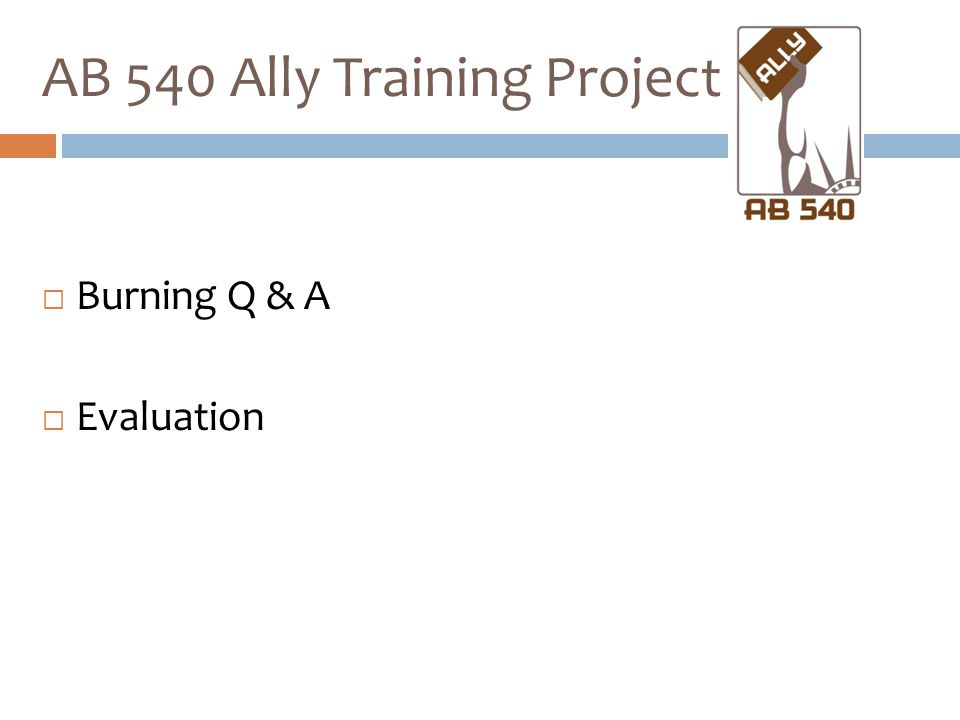  Burning Q & A  Evaluation AB 540 Ally Training Project