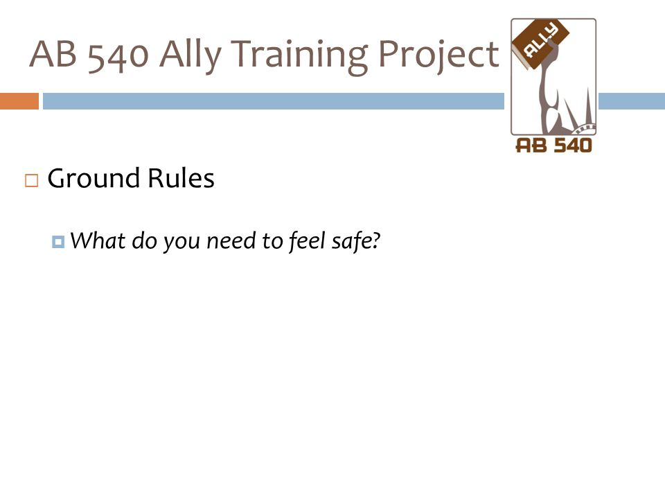  Ground Rules  What do you need to feel safe? AB 540 Ally Training Project