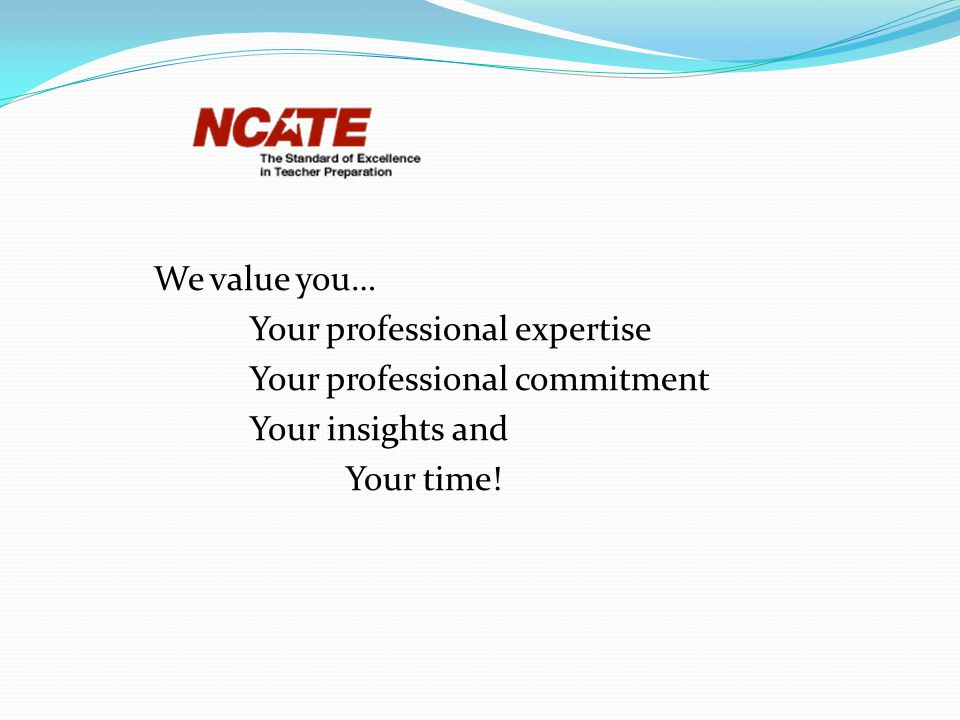 We value you… Your professional expertise Your professional commitment Your insights and Your time!