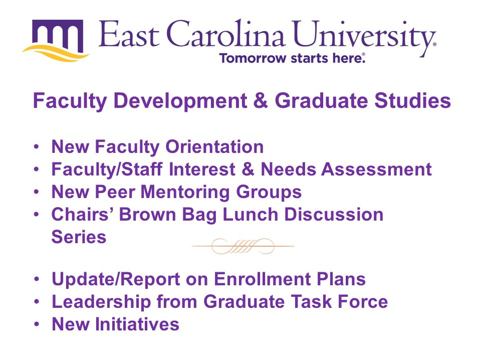 New Faculty Orientation Faculty/Staff Interest & Needs Assessment New Peer Mentoring Groups Chairs' Brown Bag Lunch Discussion Series Update/Report on Enrollment Plans Leadership from Graduate Task Force New Initiatives Faculty Development & Graduate Studies