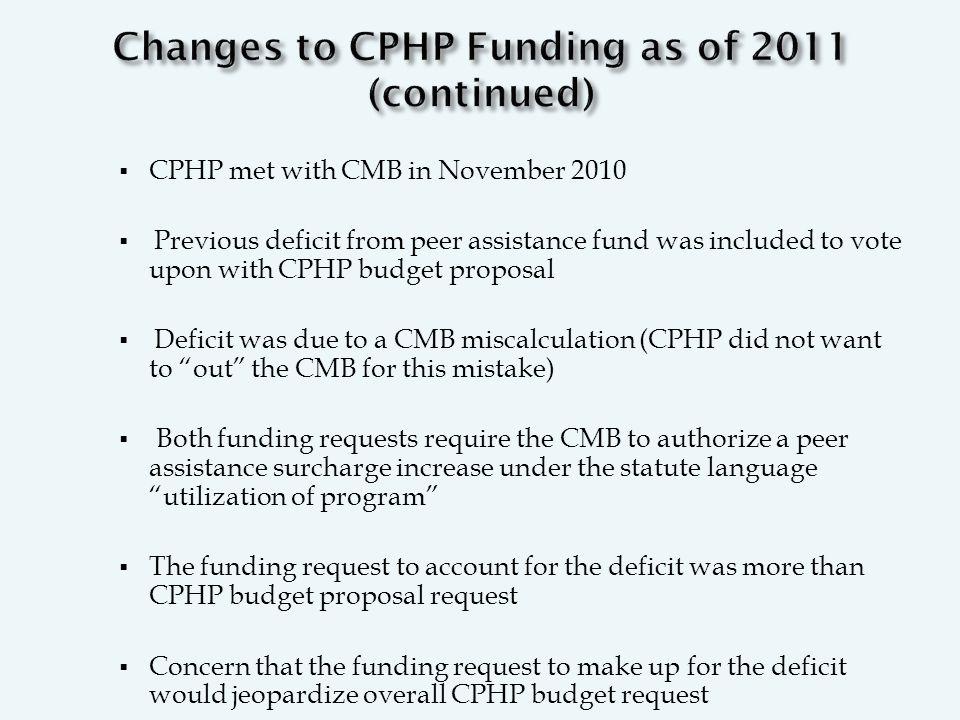  CPHP met with CMB in November 2010  Previous deficit from peer assistance fund was included to vote upon with CPHP budget proposal  Deficit was due to a CMB miscalculation (CPHP did not want to out the CMB for this mistake)  Both funding requests require the CMB to authorize a peer assistance surcharge increase under the statute language utilization of program  The funding request to account for the deficit was more than CPHP budget proposal request  Concern that the funding request to make up for the deficit would jeopardize overall CPHP budget request