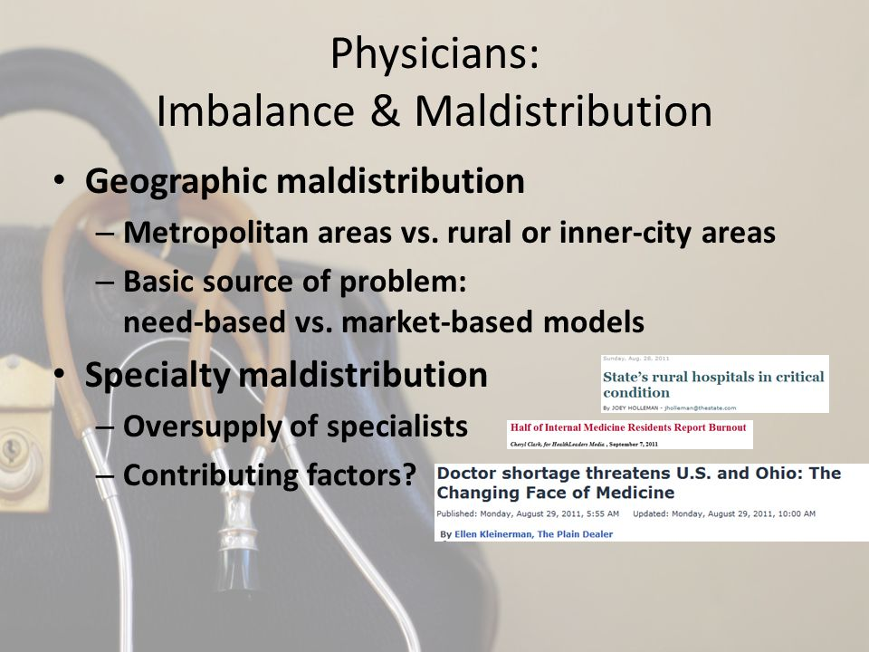 Physicians: Imbalance & Maldistribution Geographic maldistribution – Metropolitan areas vs. rural or inner-city areas – Basic source of problem: need-