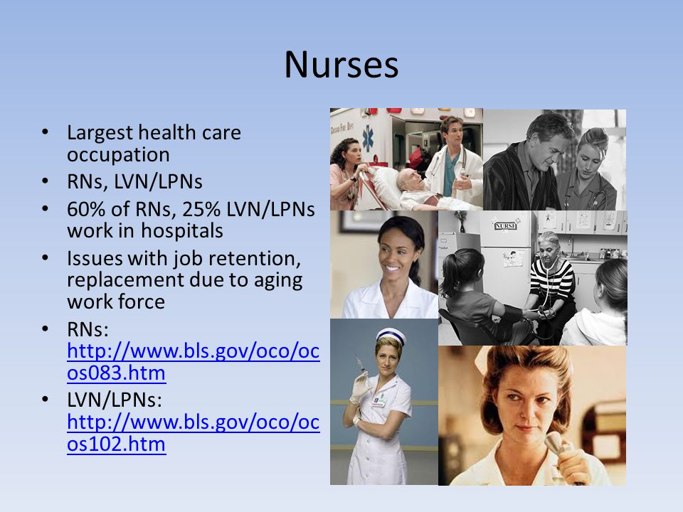 Nurses Largest health care occupation RNs, LVN/LPNs 60% of RNs, 25% LVN/LPNs work in hospitals Issues with job retention, replacement due to aging wor