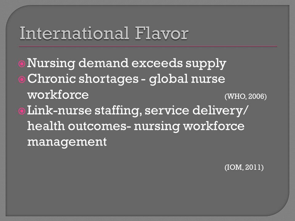 Nursing demand exceeds supply  Chronic shortages - global nurse workforce (WHO, 2006)  Link-nurse staffing, service delivery/ health outcomes- nursing workforce management (IOM, 2011)