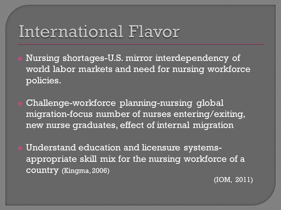  Nursing shortages-U.S. mirror interdependency of world labor markets and need for nursing workforce policies.  Challenge-workforce planning-nursing