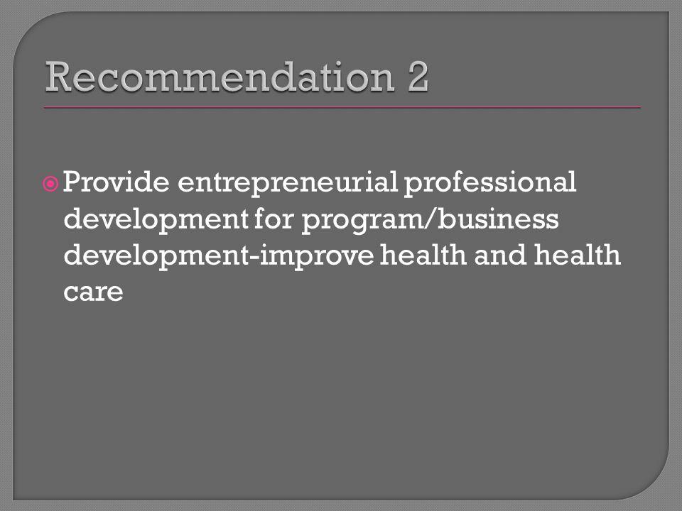  Provide entrepreneurial professional development for program/business development-improve health and health care