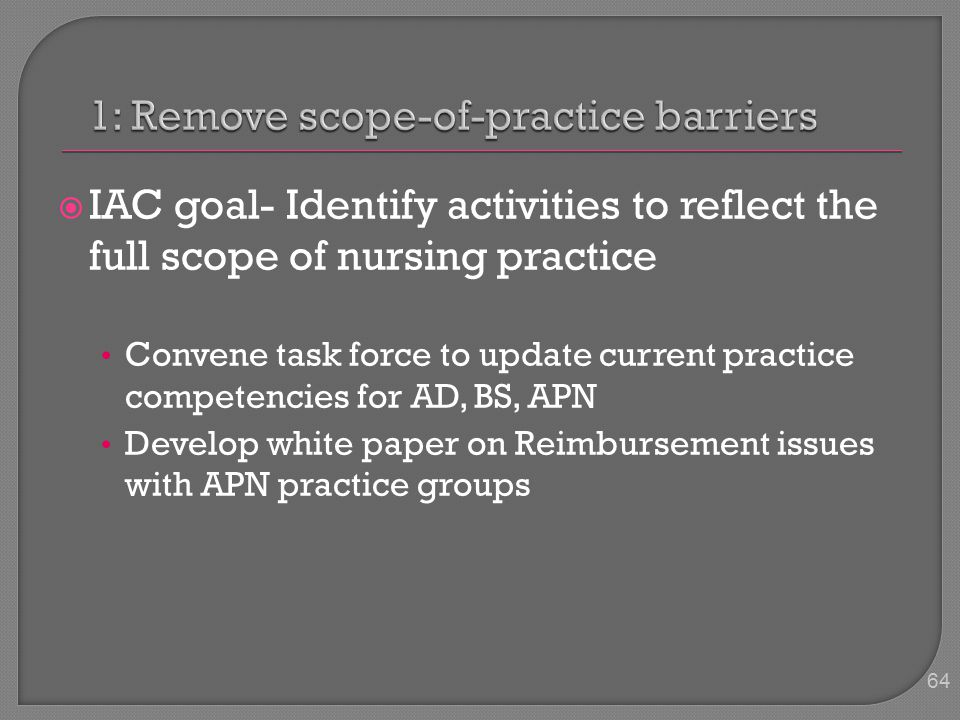  IAC goal- Identify activities to reflect the full scope of nursing practice Convene task force to update current practice competencies for AD, BS, APN Develop white paper on Reimbursement issues with APN practice groups 64