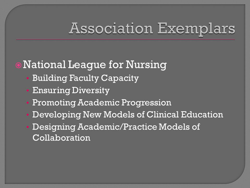  National League for Nursing Building Faculty Capacity Ensuring Diversity Promoting Academic Progression Developing New Models of Clinical Education Designing Academic/Practice Models of Collaboration
