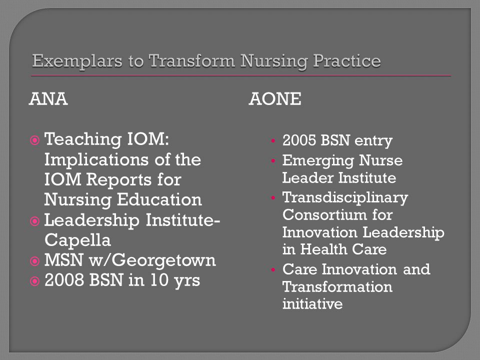 ANA  Teaching IOM: Implications of the IOM Reports for Nursing Education  Leadership Institute- Capella  MSN w/Georgetown  2008 BSN in 10 yrs AONE 2005 BSN entry Emerging Nurse Leader Institute Transdisciplinary Consortium for Innovation Leadership in Health Care Care Innovation and Transformation initiative