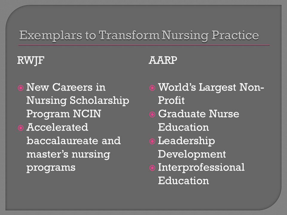 RWJF  New Careers in Nursing Scholarship Program NCIN  Accelerated baccalaureate and master's nursing programs AARP  World's Largest Non- Profit  Graduate Nurse Education  Leadership Development  Interprofessional Education