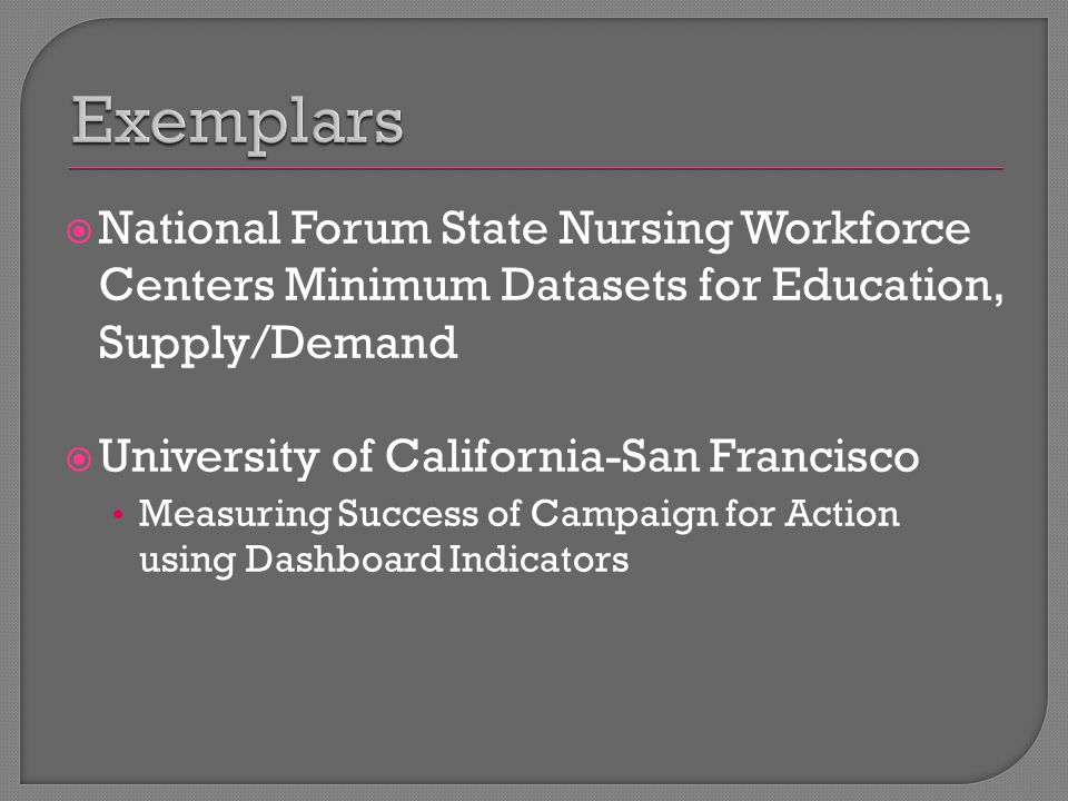  National Forum State Nursing Workforce Centers Minimum Datasets for Education, Supply/Demand  University of California-San Francisco Measuring Success of Campaign for Action using Dashboard Indicators