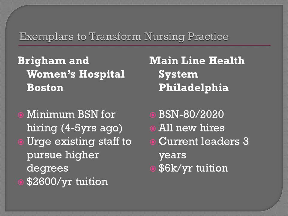 Brigham and Women's Hospital Boston  Minimum BSN for hiring (4-5yrs ago)  Urge existing staff to pursue higher degrees  $2600/yr tuition Main Line