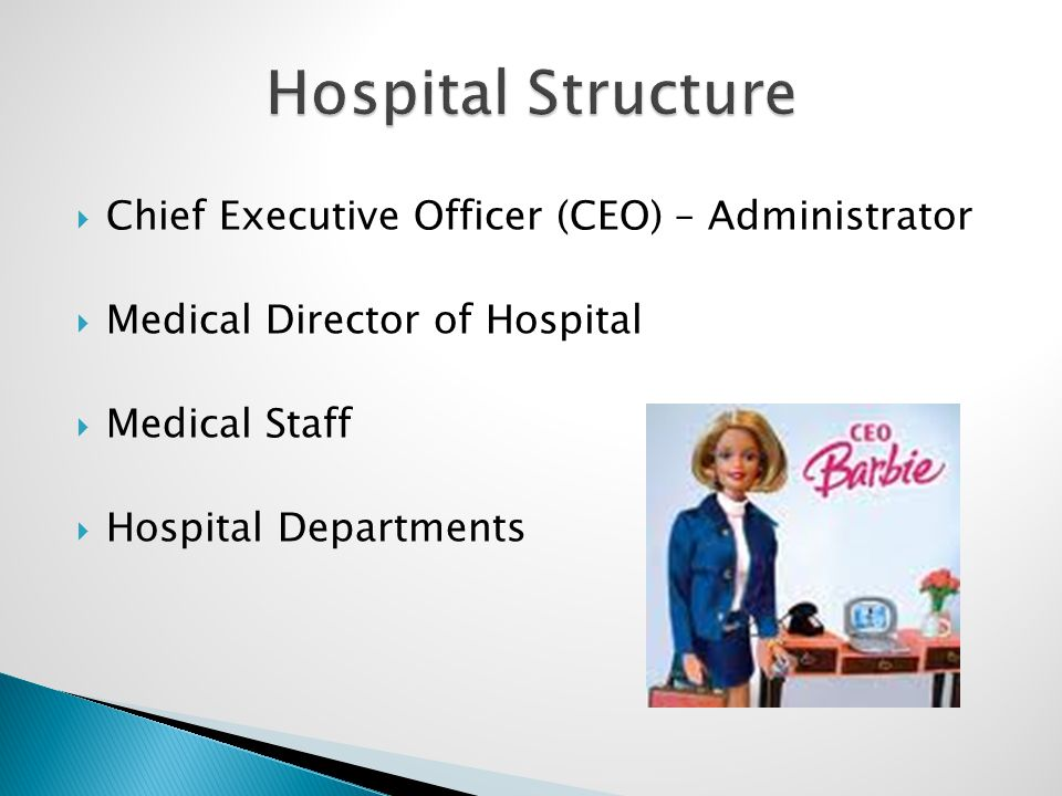  Chief Executive Officer (CEO) – Administrator  Medical Director of Hospital  Medical Staff  Hospital Departments
