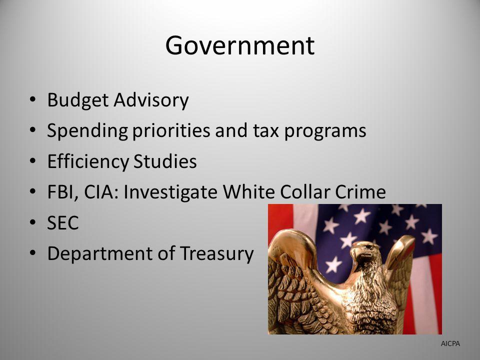 Government Budget Advisory Spending priorities and tax programs Efficiency Studies FBI, CIA: Investigate White Collar Crime SEC Department of Treasury