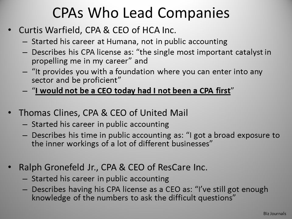 CPAs Who Lead Companies Curtis Warfield, CPA & CEO of HCA Inc.
