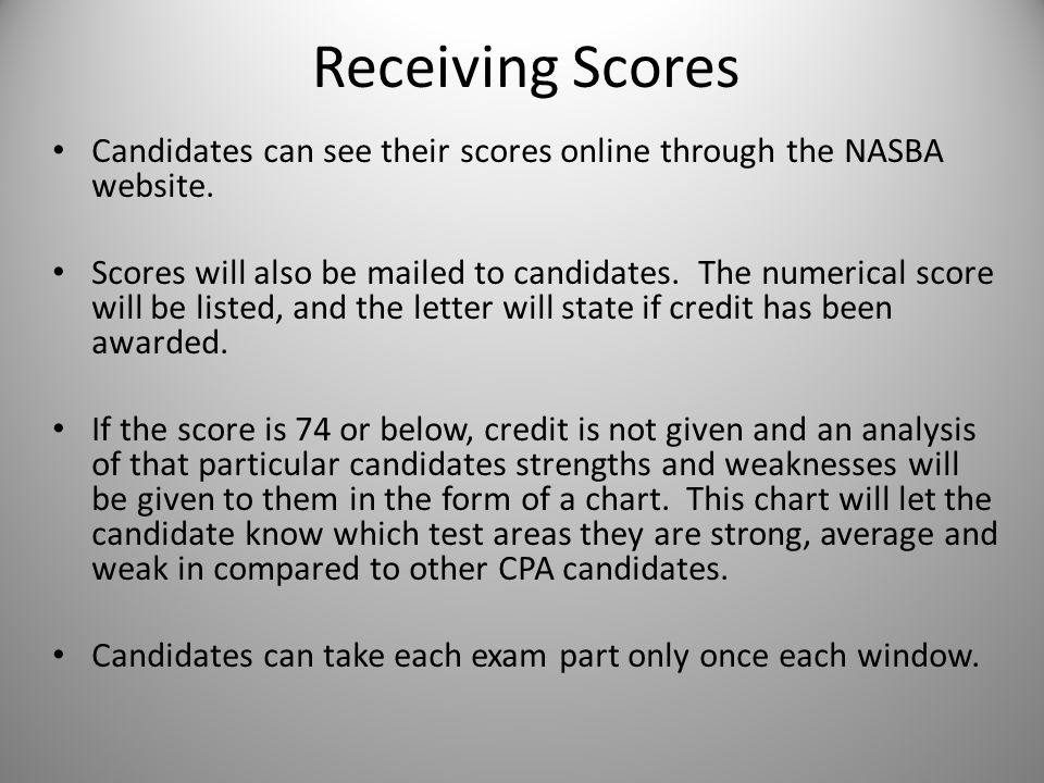 Receiving Scores Candidates can see their scores online through the NASBA website.