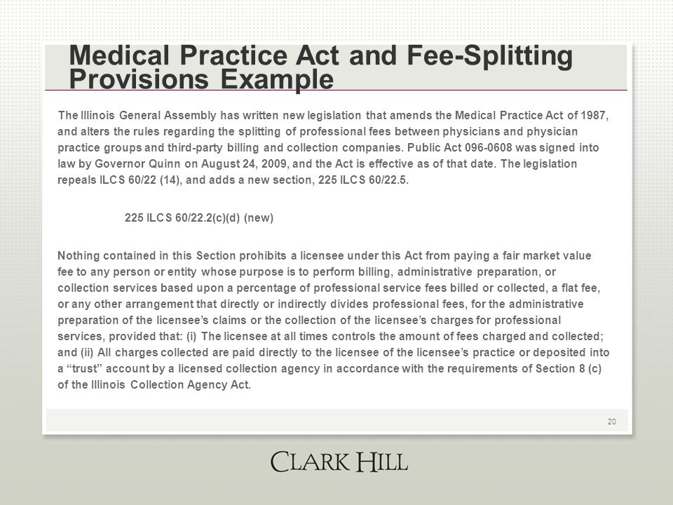 20 Medical Practice Act and Fee-Splitting Provisions Example The Illinois General Assembly has written new legislation that amends the Medical Practic