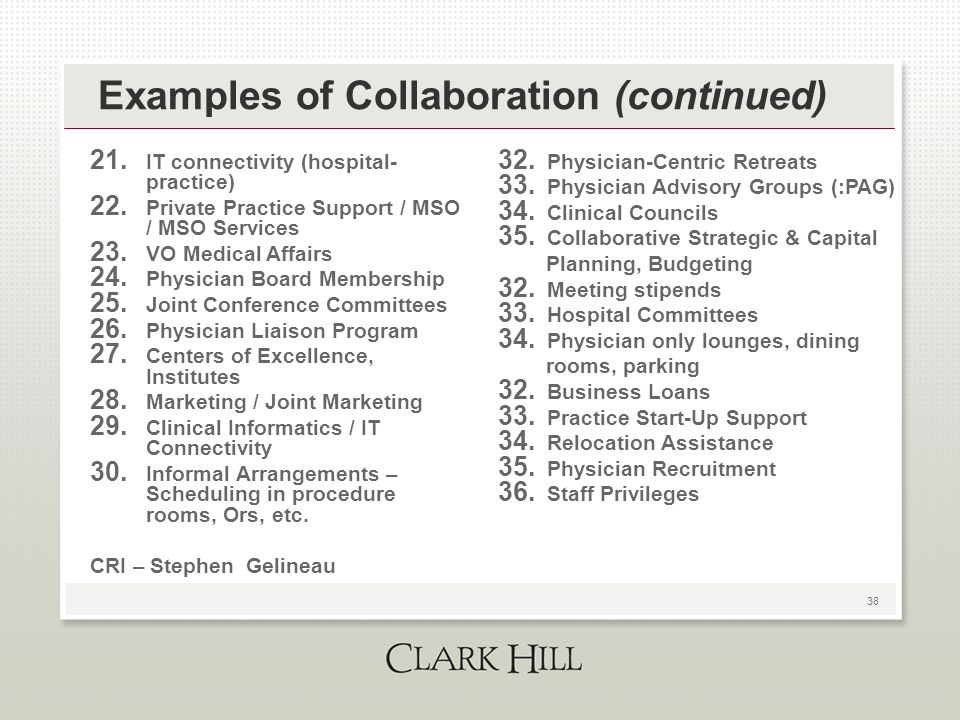 38 Examples of Collaboration (continued) 21. IT connectivity (hospital- practice) 22. Private Practice Support / MSO / MSO Services 23. VO Medical Aff