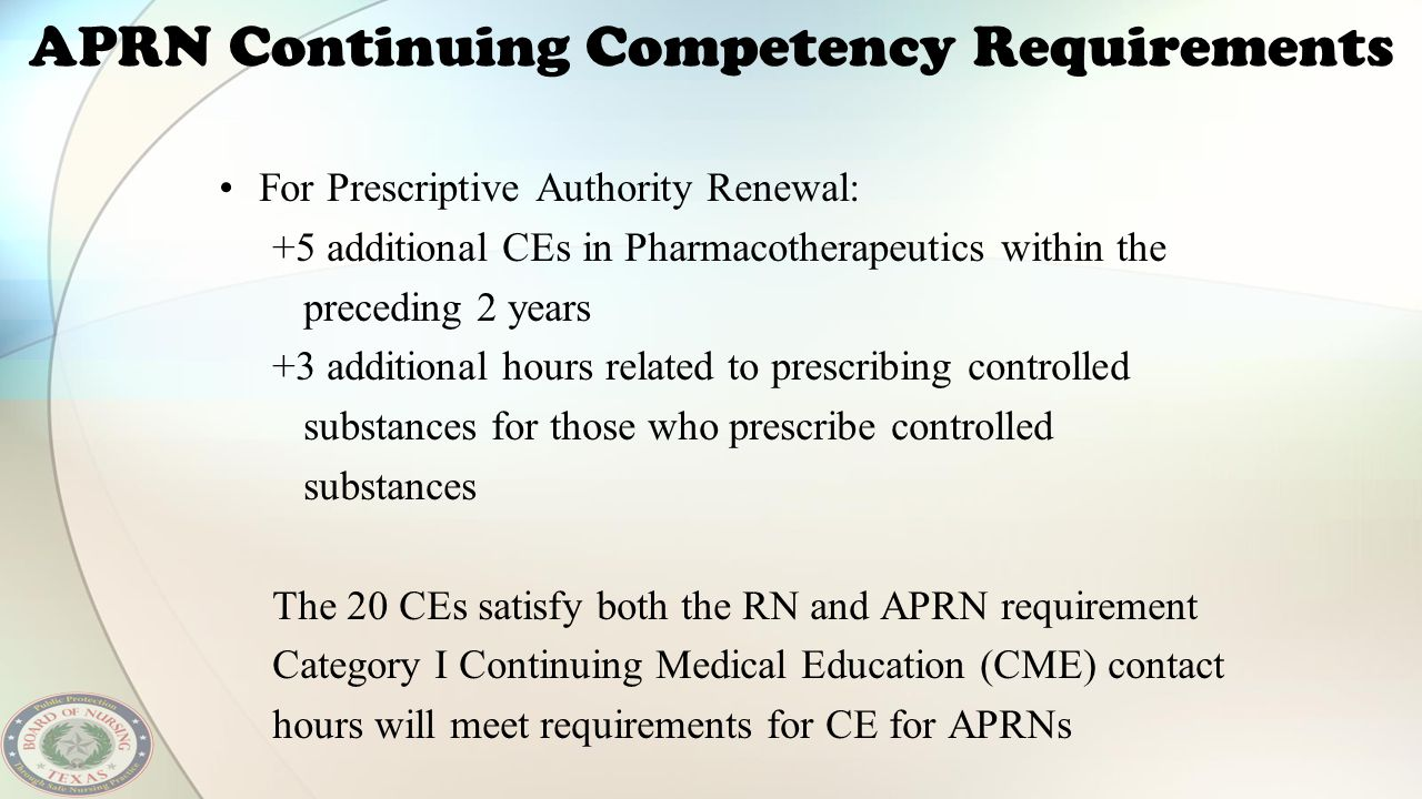 APRN Continuing Competency Requirements For Prescriptive Authority Renewal: +5 additional CEs in Pharmacotherapeutics within the preceding 2 years +3