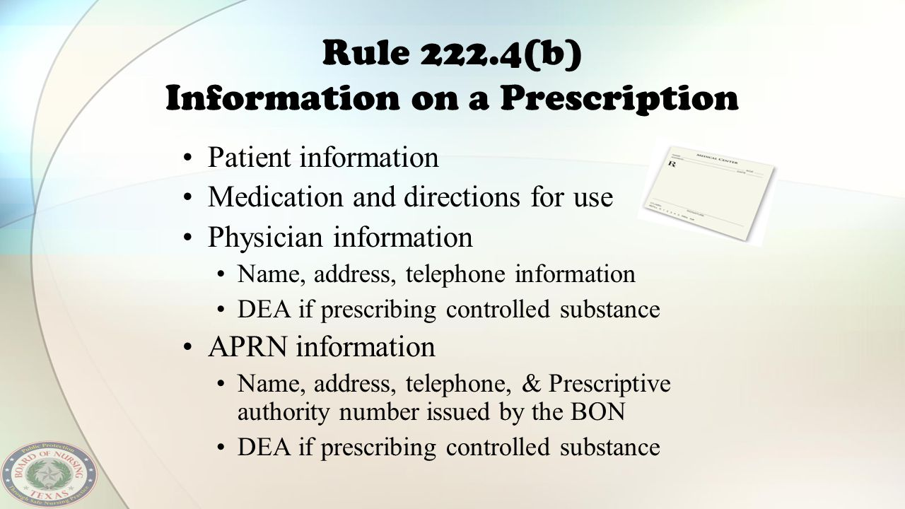 Rule 222.4(b) Information on a Prescription Patient information Medication and directions for use Physician information Name, address, telephone infor