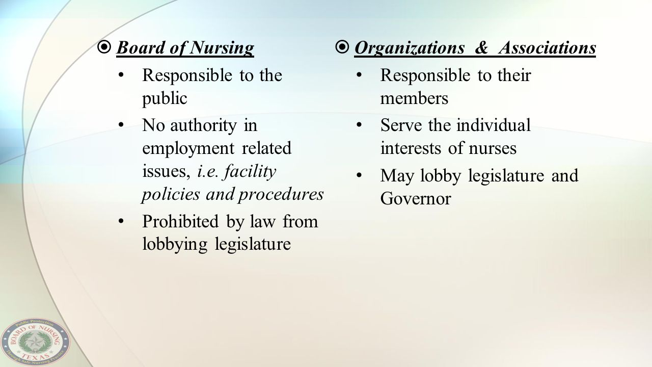  Board of Nursing Responsible to the public No authority in employment related issues, i.e. facility policies and procedures Prohibited by law from l