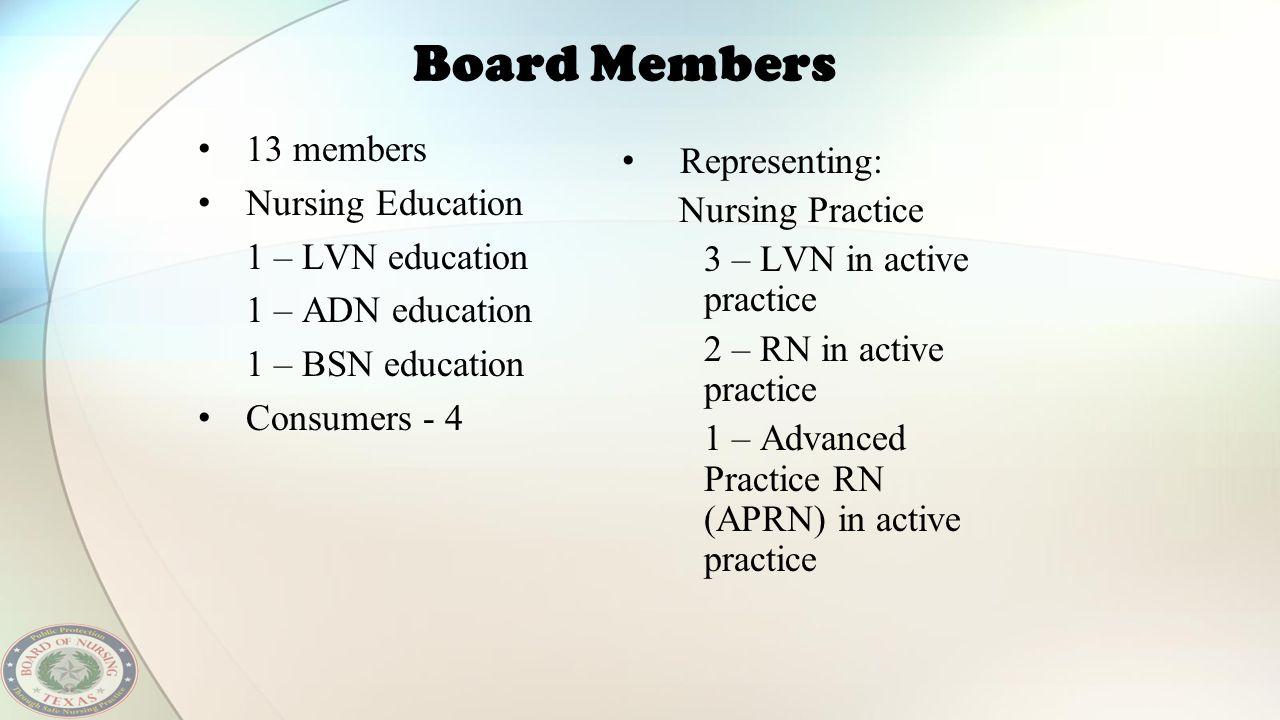 Board Members 13 members Nursing Education 1 – LVN education 1 – ADN education 1 – BSN education Consumers - 4 Representing: Nursing Practice 3 – LVN