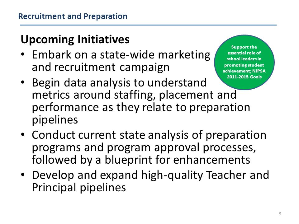 Recruitment and Preparation Upcoming Initiatives Embark on a state-wide marketing and recruitment campaign Begin data analysis to understand metrics around staffing, placement and performance as they relate to preparation pipelines Conduct current state analysis of preparation programs and program approval processes, followed by a blueprint for enhancements Develop and expand high-quality Teacher and Principal pipelines 3 Support the essential role of school leaders in promoting student achievement; NJPSA 2011-2015 Goals
