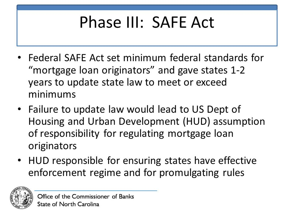 Phase III: SAFE Act Federal SAFE Act set minimum federal standards for mortgage loan originators and gave states 1-2 years to update state law to meet or exceed minimums Failure to update law would lead to US Dept of Housing and Urban Development (HUD) assumption of responsibility for regulating mortgage loan originators HUD responsible for ensuring states have effective enforcement regime and for promulgating rules