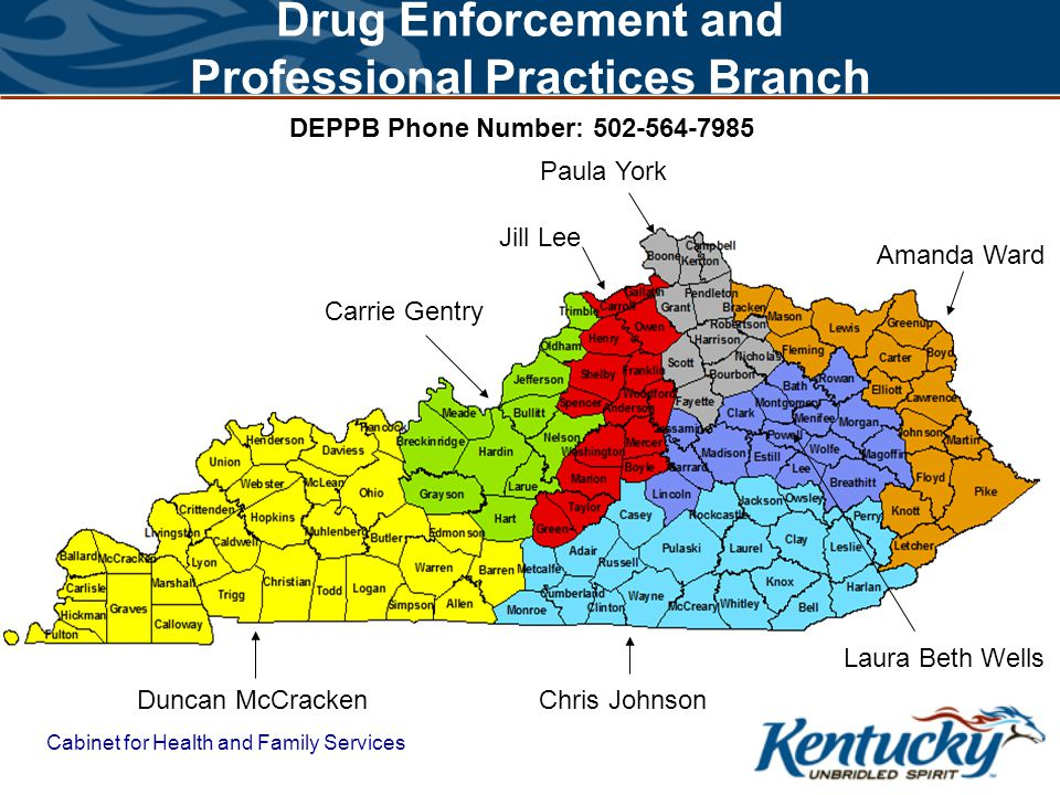 Drug Enforcement and Professional Practices Branch Cabinet for Health and Family Services Duncan McCracken Chris Johnson Amanda Ward Laura Beth Wells Jill Lee Paula York Carrie Gentry DEPPB Phone Number: 502-564-7985