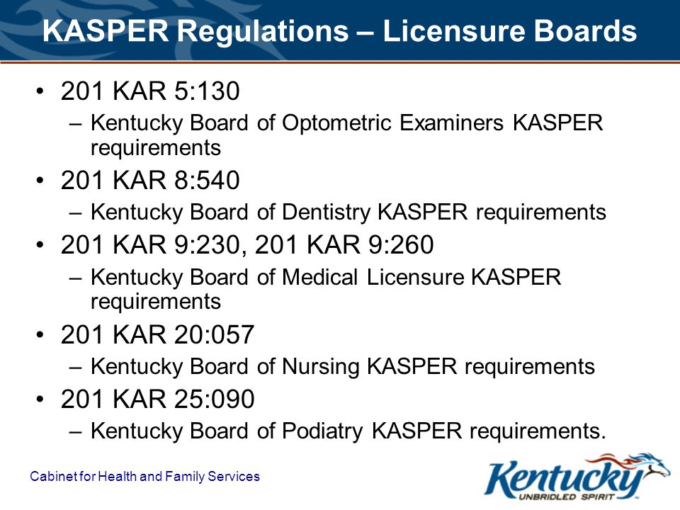 Cabinet for Health and Family Services KASPER Regulations – Licensure Boards 201 KAR 5:130 –Kentucky Board of Optometric Examiners KASPER requirements 201 KAR 8:540 –Kentucky Board of Dentistry KASPER requirements 201 KAR 9:230, 201 KAR 9:260 –Kentucky Board of Medical Licensure KASPER requirements 201 KAR 20:057 –Kentucky Board of Nursing KASPER requirements 201 KAR 25:090 –Kentucky Board of Podiatry KASPER requirements.