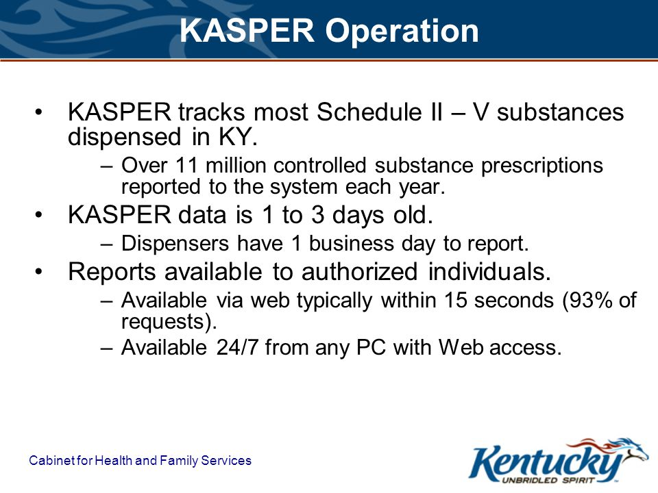 KASPER Operation KASPER tracks most Schedule II – V substances dispensed in KY.